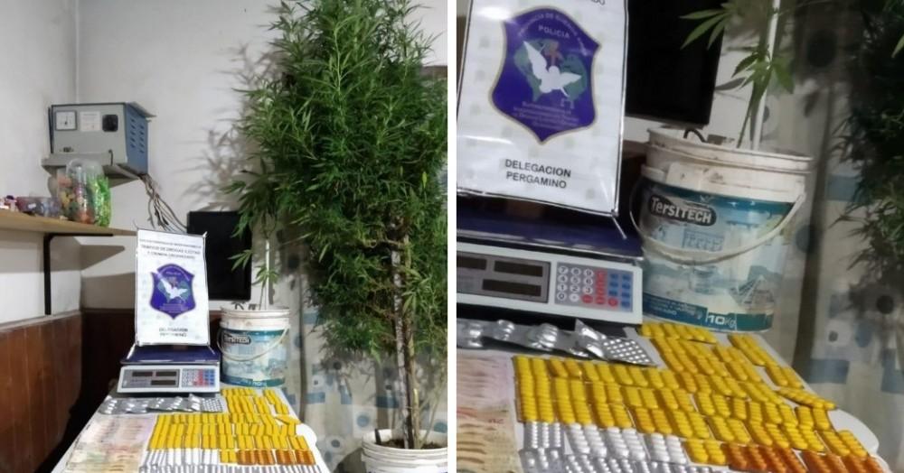 Se incautaron más de dos kilos de marihuana, varias dosis de cocaína y sustancias de corte.