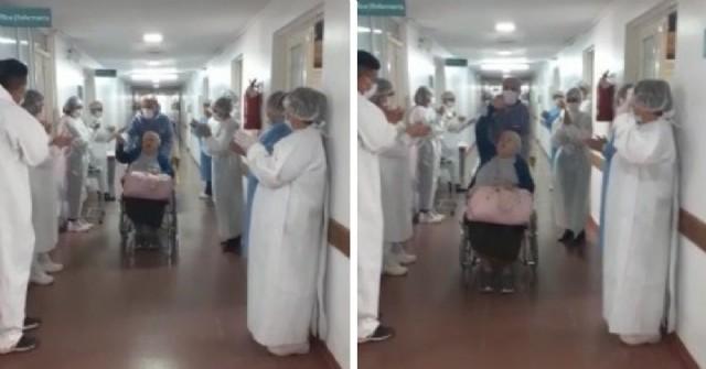 Un aplauso a la vida: emotivo saludo del personal sanitario a una mujer de 95 años que venció al coronavirus
